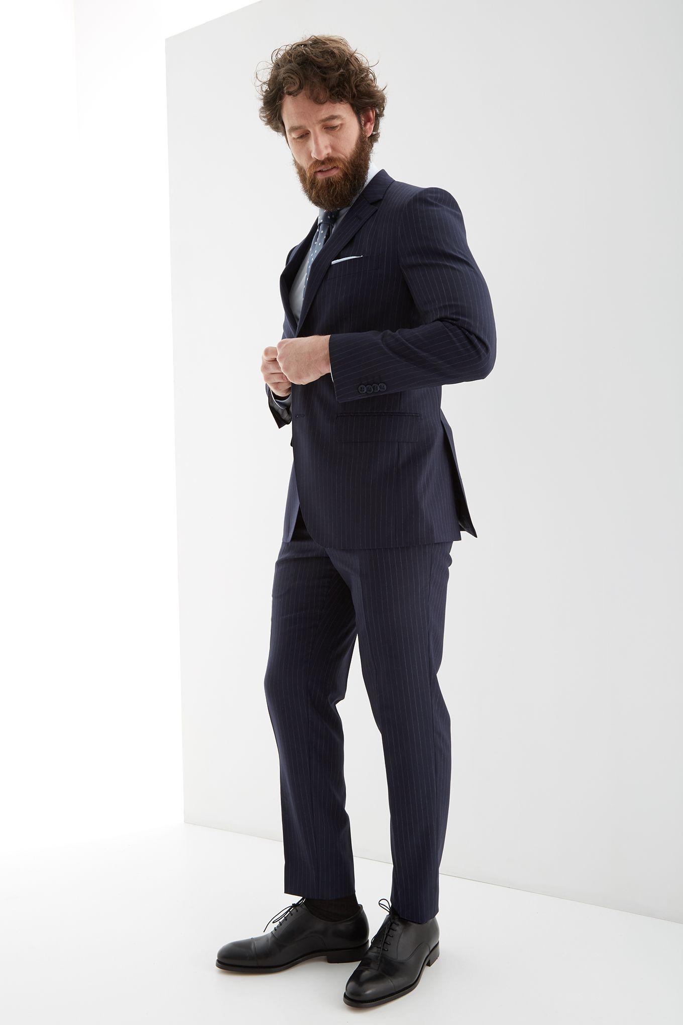 Men s Striped Slim Fit Suit