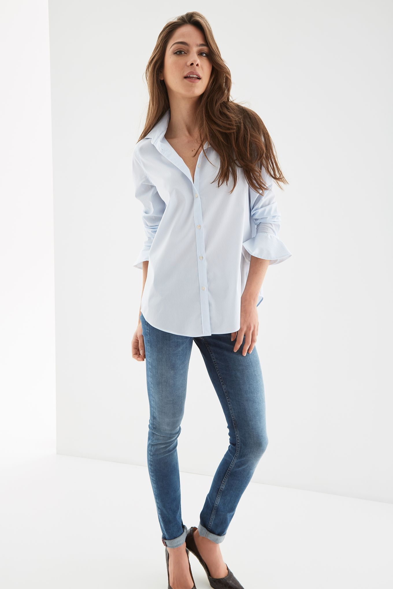 Womens multi-coloured striped casual shirt