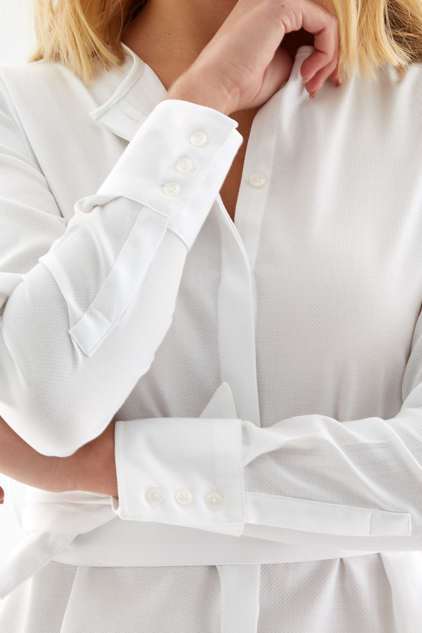 Womens white belted shirt