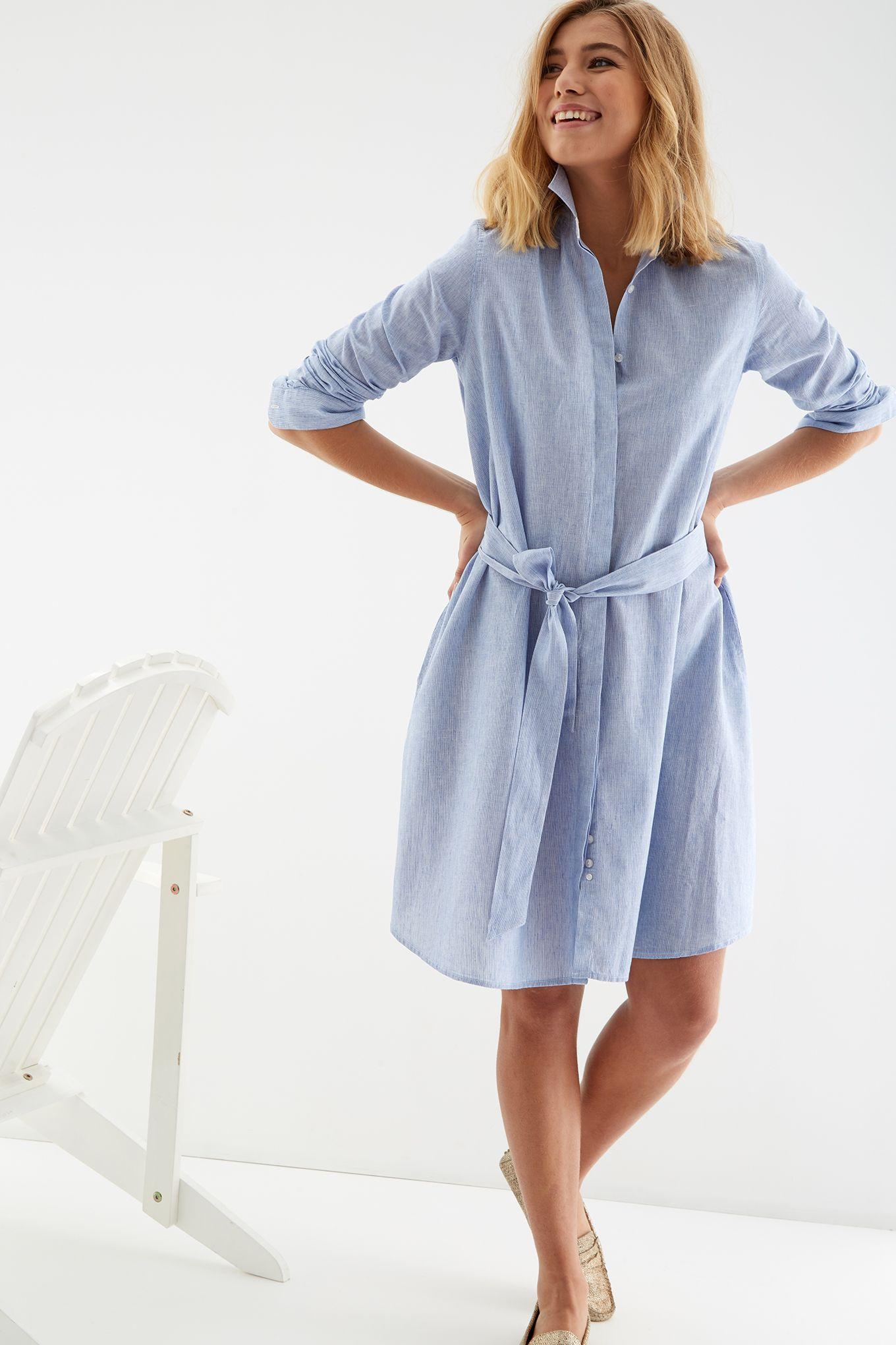 Womens Striped Linen Shirt Dress