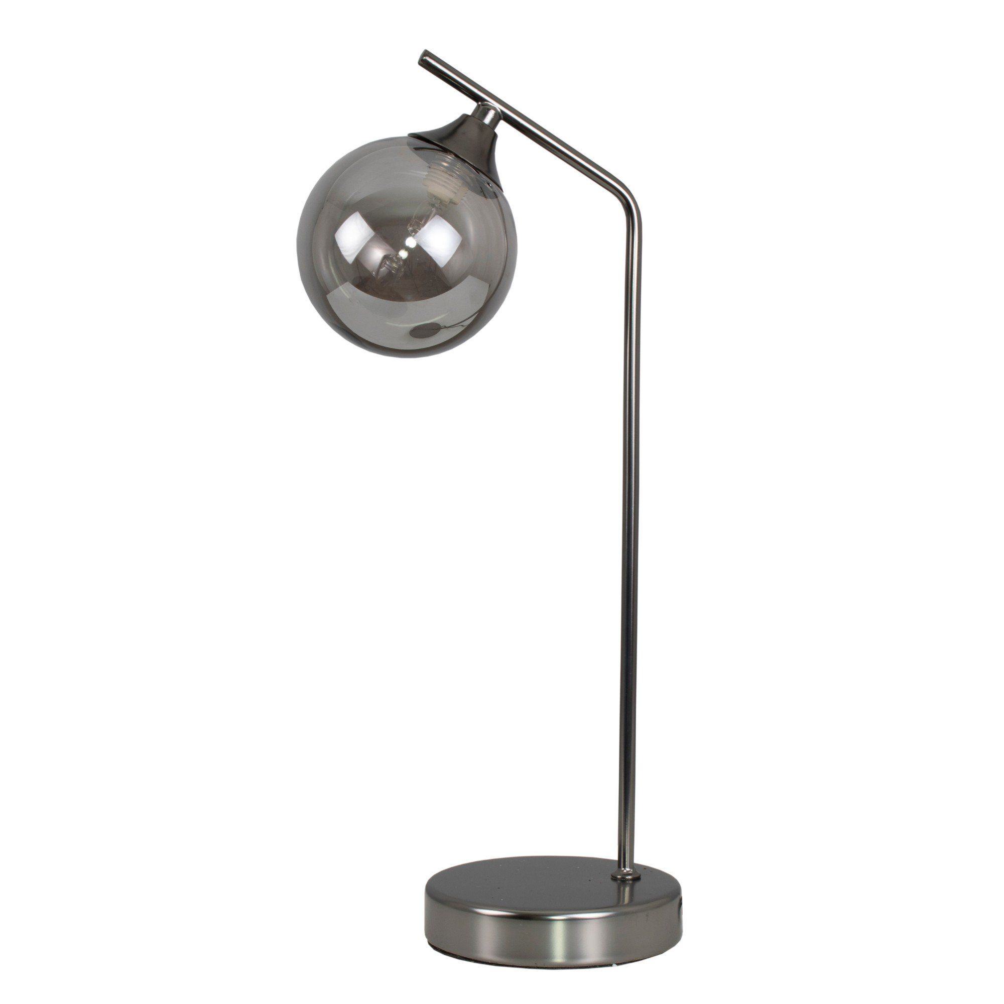 Carney Gun Metal Smoked 40cm Table Lamp