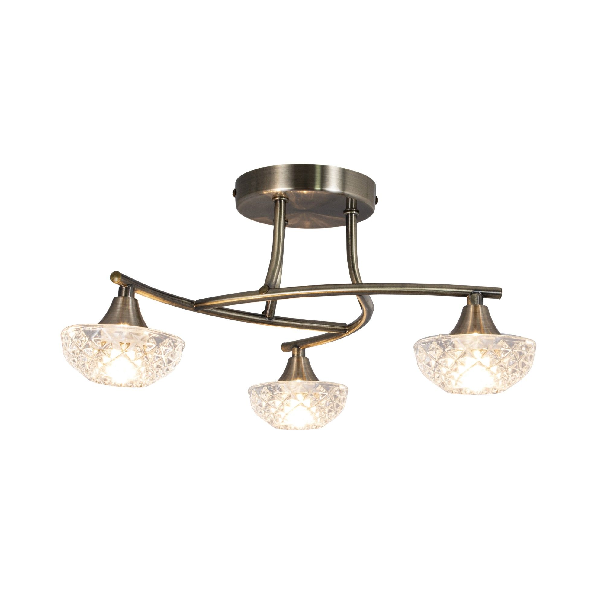 Paine Antique Brass 3 Light Semi Flush Ceiling Light