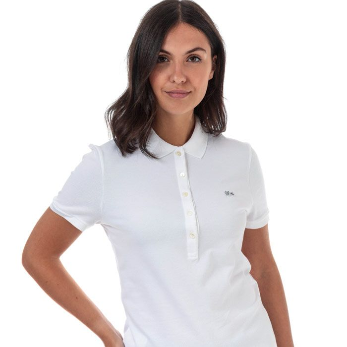 Women's Lacoste Slim Fit Stretch Cotton Pique Polo Shirt in White