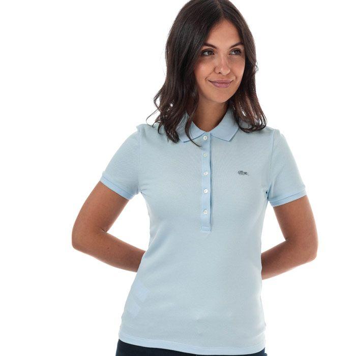 Women's Lacoste Slim Fit Stretch Cotton Pique Polo Shirt in Light Blue