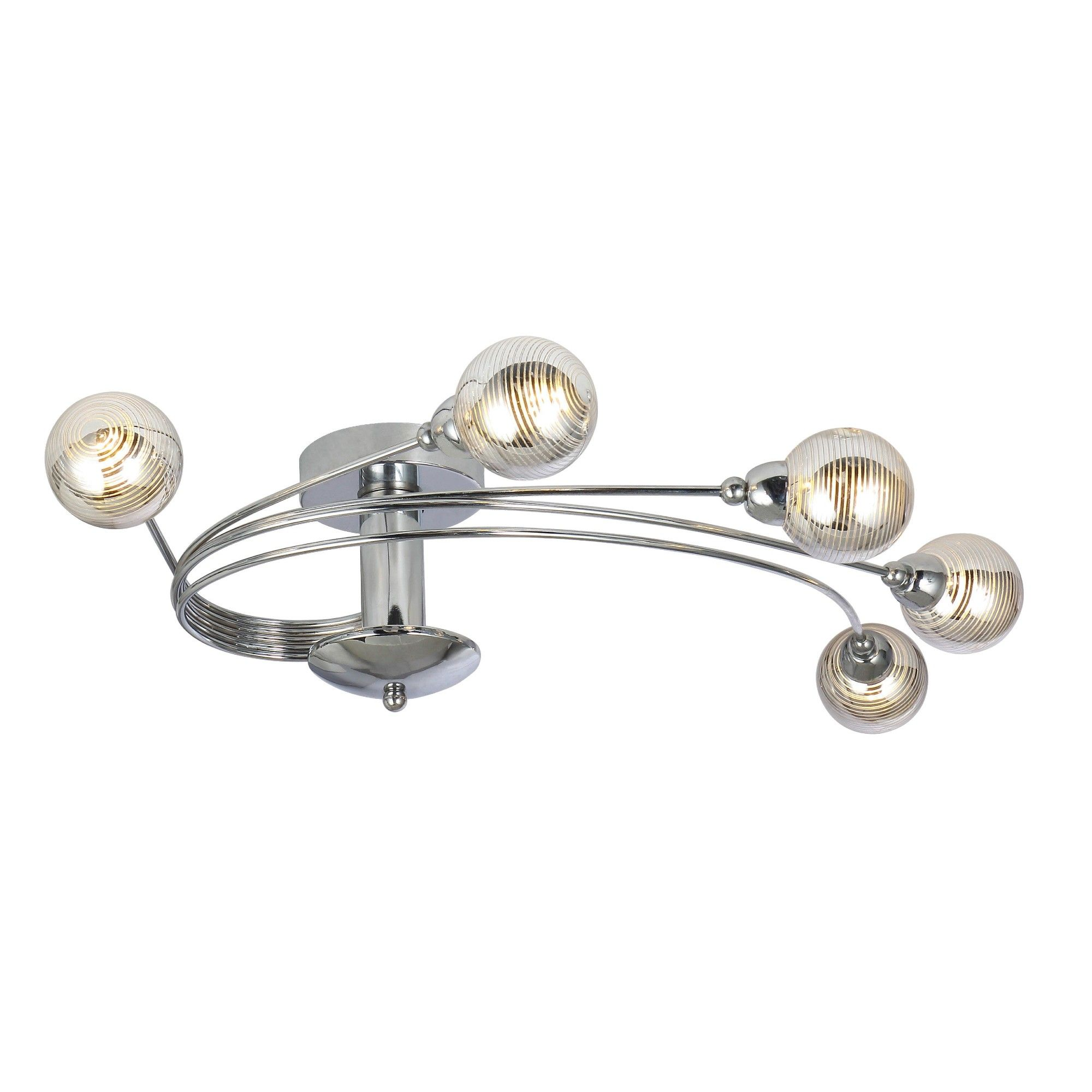 Tiia 5 Light Polished Chrome Semi Flush Ceiling Light