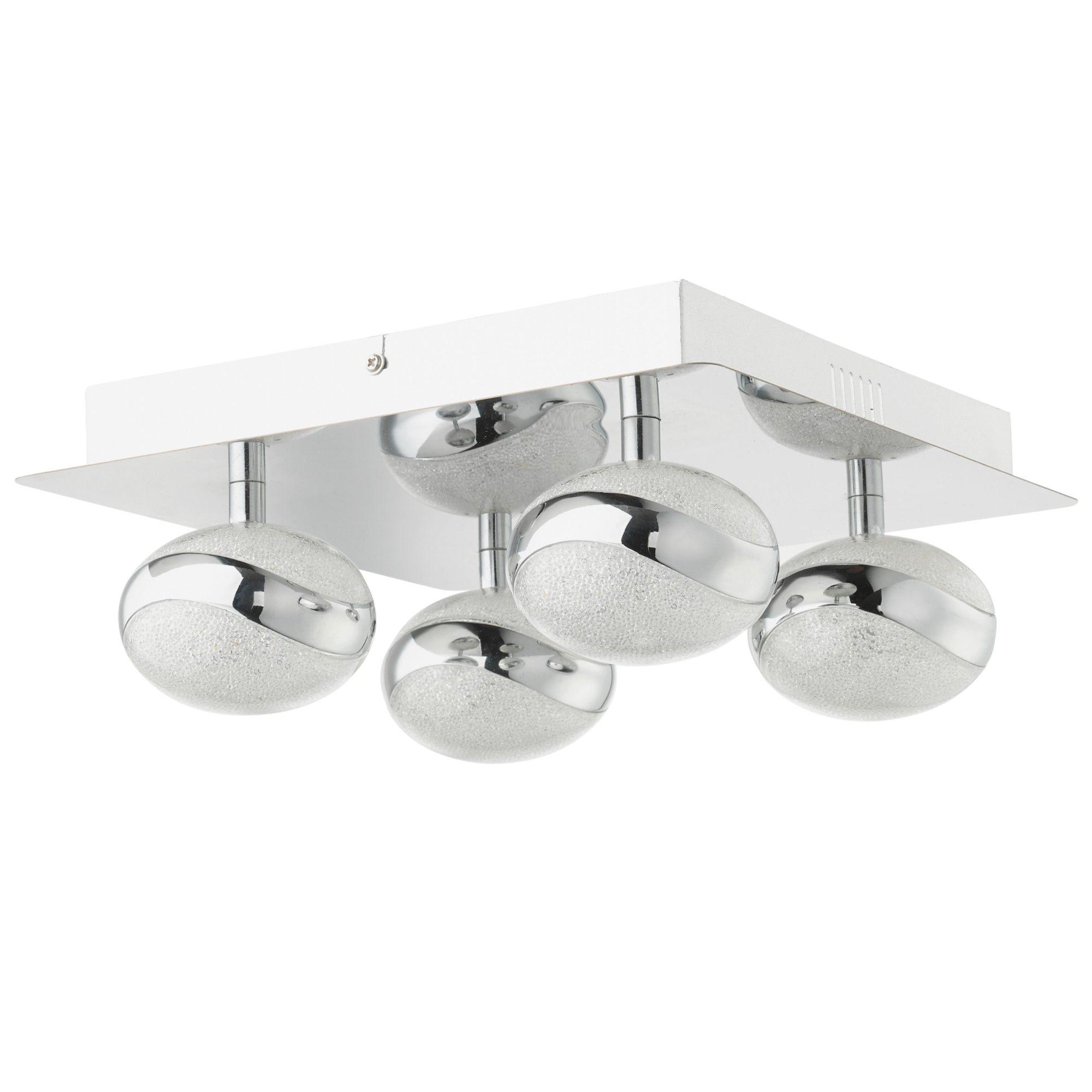 Tarvi Cool White LED 4 Light Polished Chrome Semi Flush Ceiling Light