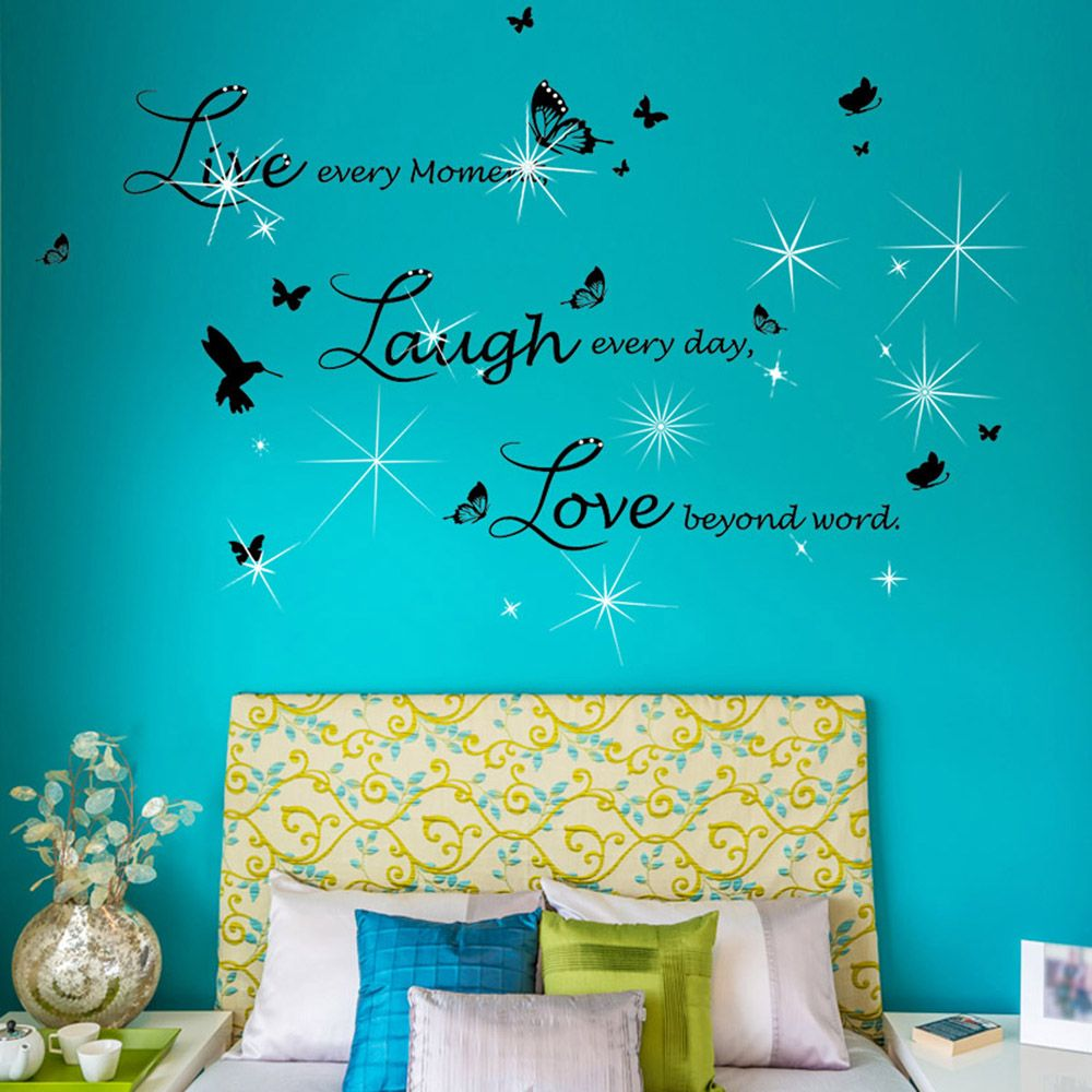 Walplus Live Laugh Love in Lucida Handwriting with Swarovski Crystals