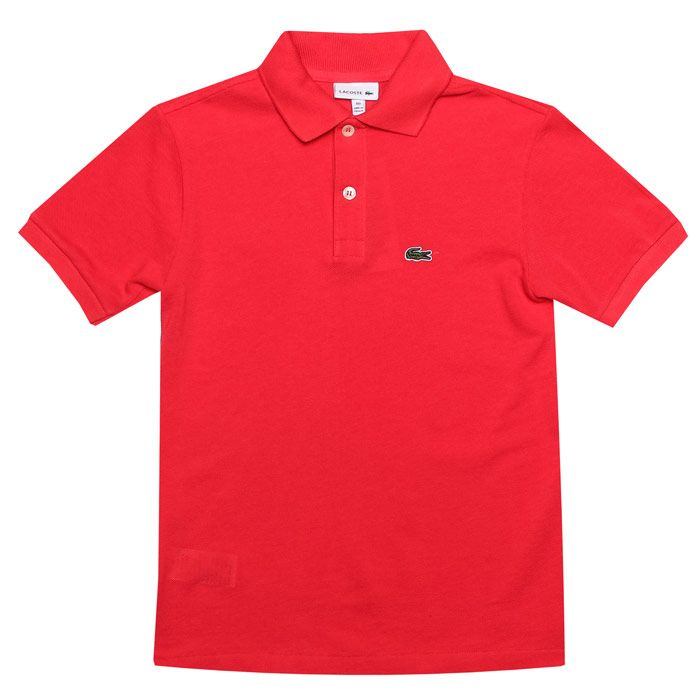 Boy's Lacoste Junior Polo Shirt in Coral
