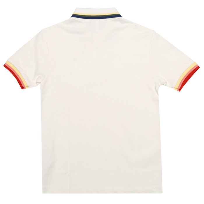 Boy's Lacoste Infant Tipped Collar Polo Shirt in White