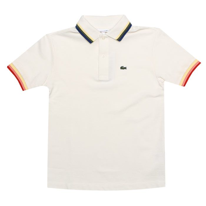 Boy's Lacoste Junior Tipped Collar Polo Shirt in White