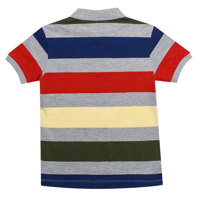 Boy's Lacoste Junior Striped Polo Shirt in Grey