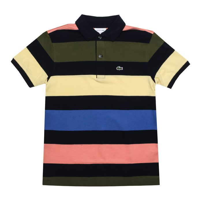 Boy's Lacoste Infant Striped Polo Shirt in Navy