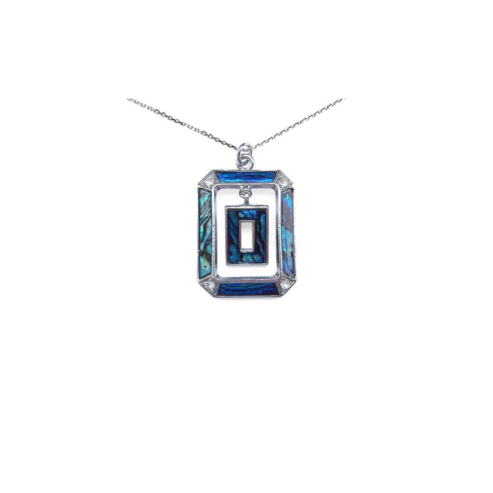 Abalone Rectangle Pendant and Silver Mounting