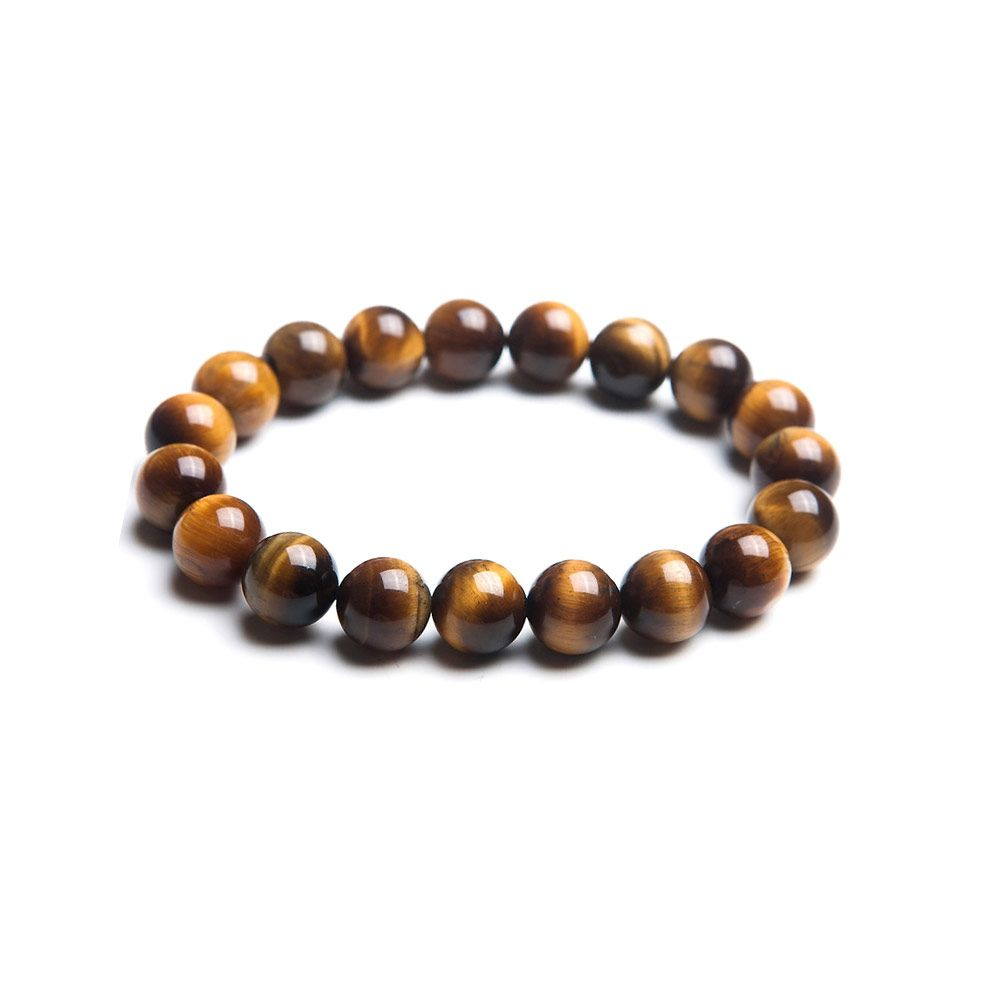 Brown Tiger Eye Pearl Stretch Women and Men Bracelet