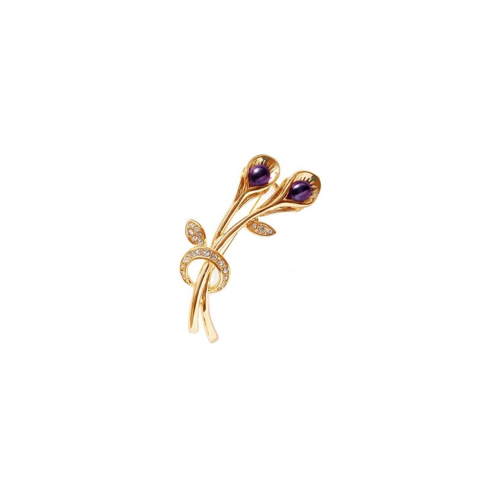 Purple Freshwater Pearl and Cz Stone Brooch and yellow Gold Mounting