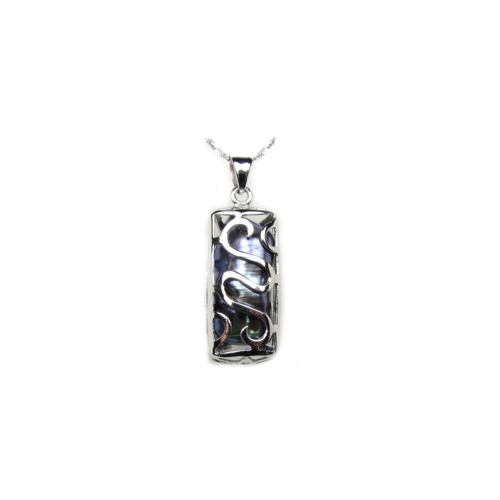 Black Mother of Pearl and 925 Silver Pendant