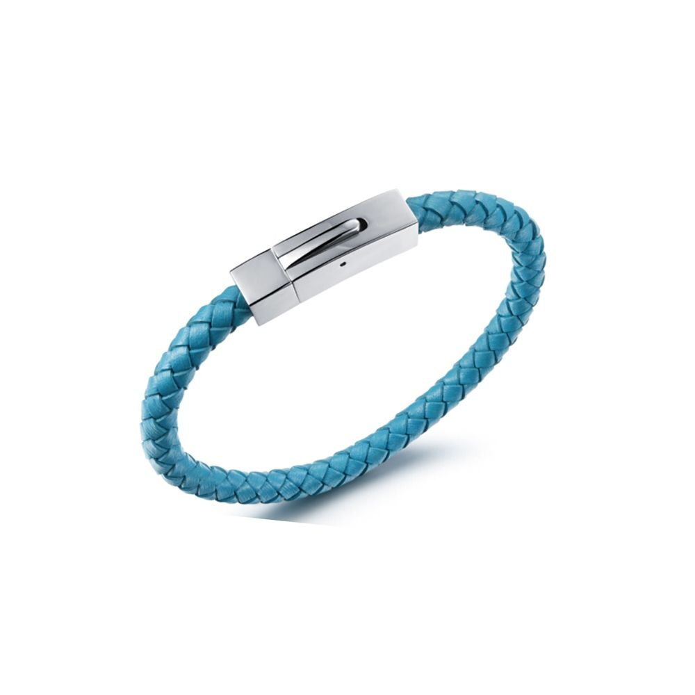 Blue Braided Leather and Stainless Steel Man Bracelet