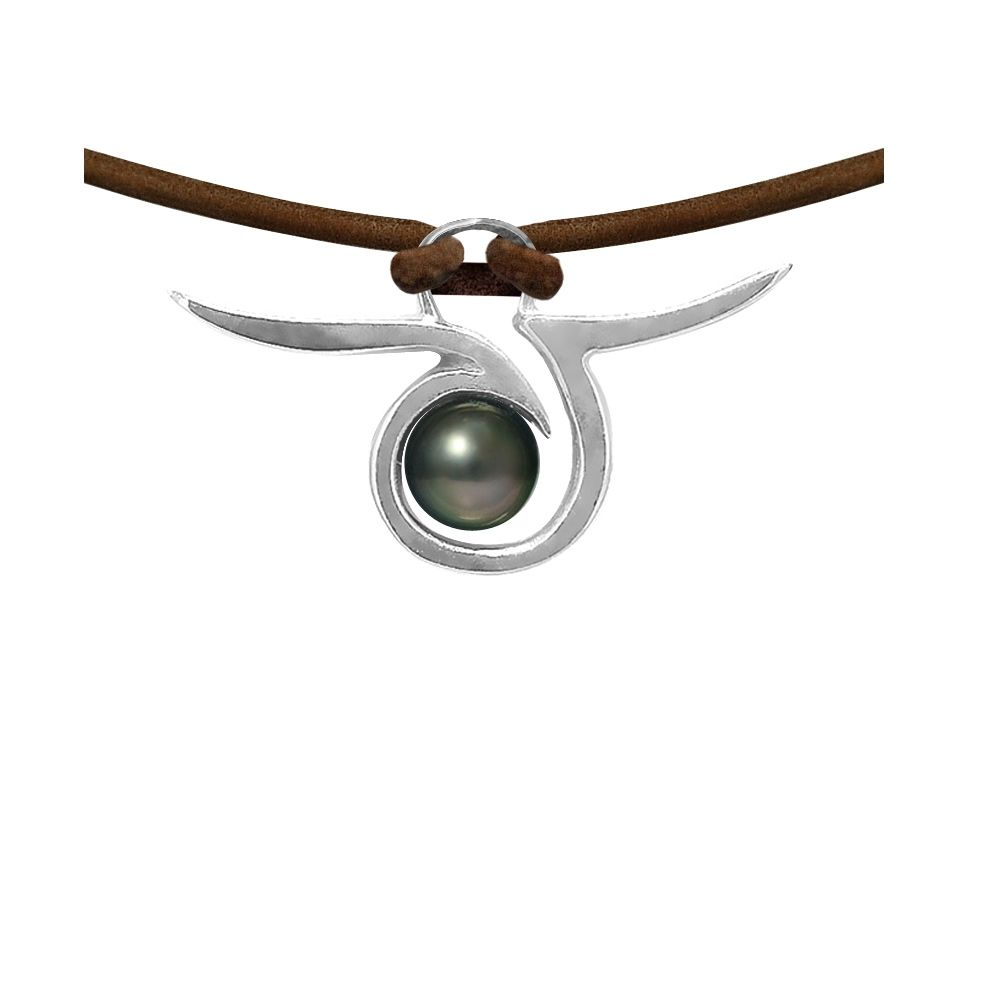 Tahitian Pearl Tribal Leather Man Necklace and 925 Sterling Silver