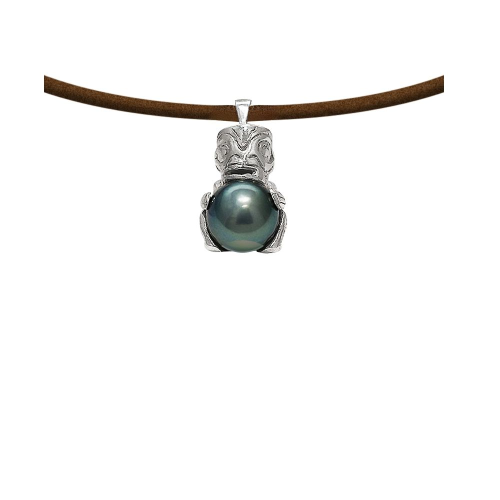 Black Tahitian Pearl Tribal Leather Man Necklace and 925 Sterling Silver