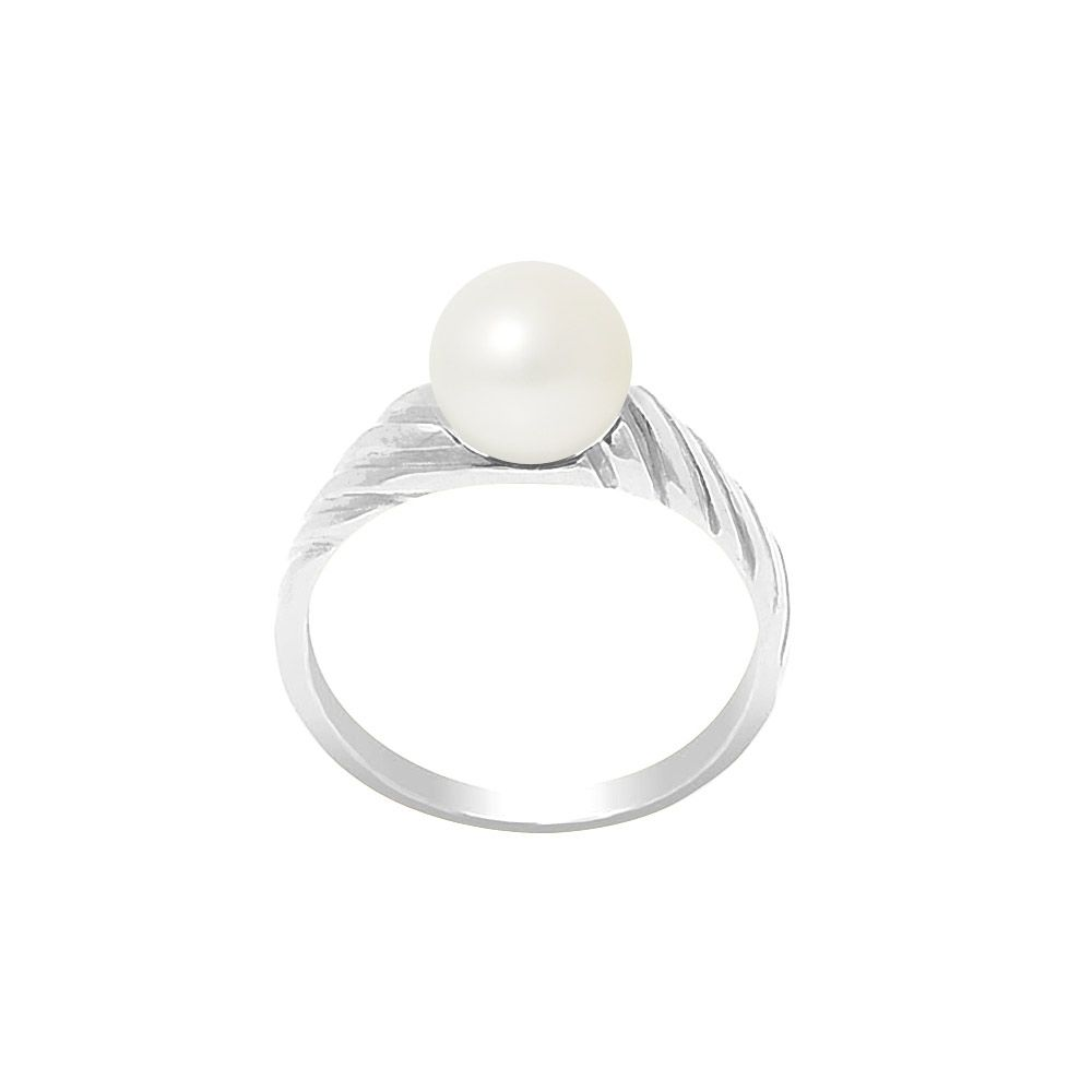 7-8 mm White Freshwater Pearl Ring and 925/1000 Silver