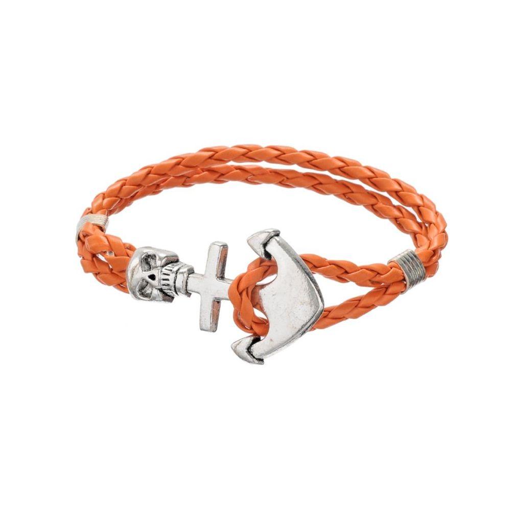 Orange Braided Leather Anchor and Skull Stainless Steel Man Bracelet