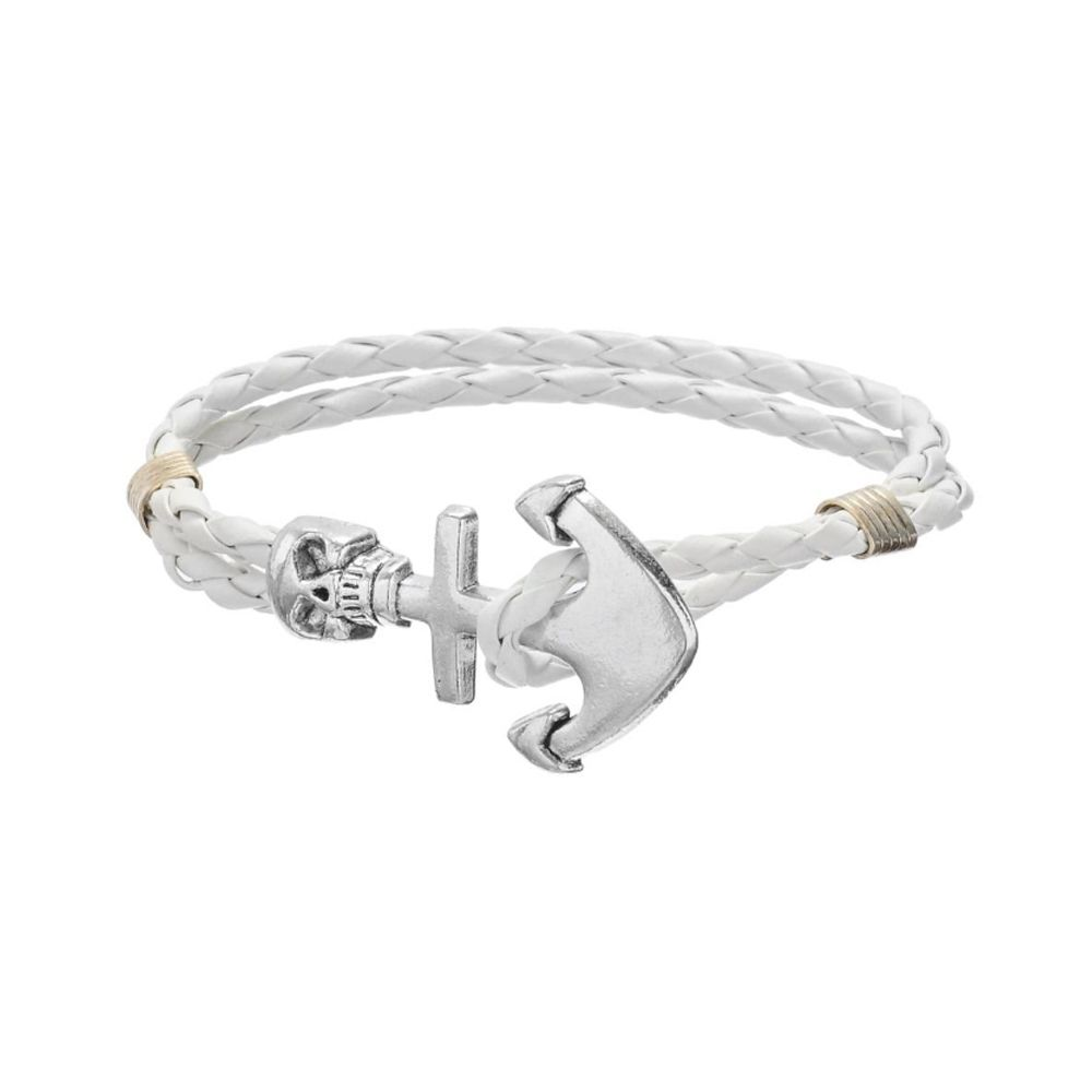 White Braided Leather Anchor and Skull Stainless Steel Man Bracelet