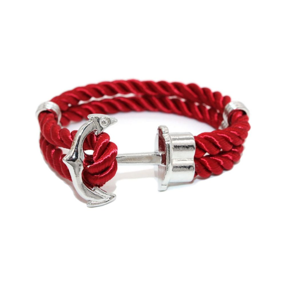 Red Satin Cloth and Anchor Stainless Steel Man Bracelet