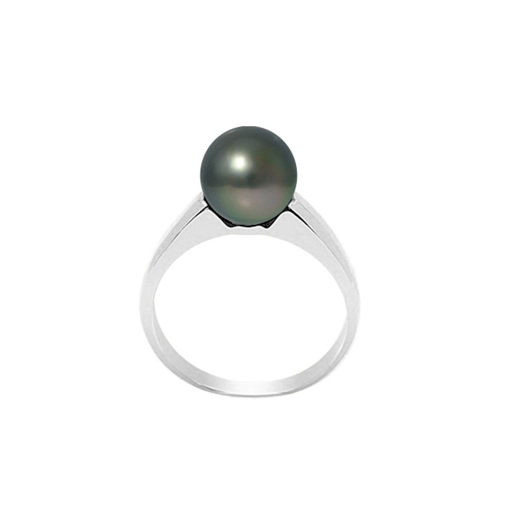 Black Tahitian Pearl Ring 8-9 mm and Silver 925/1000