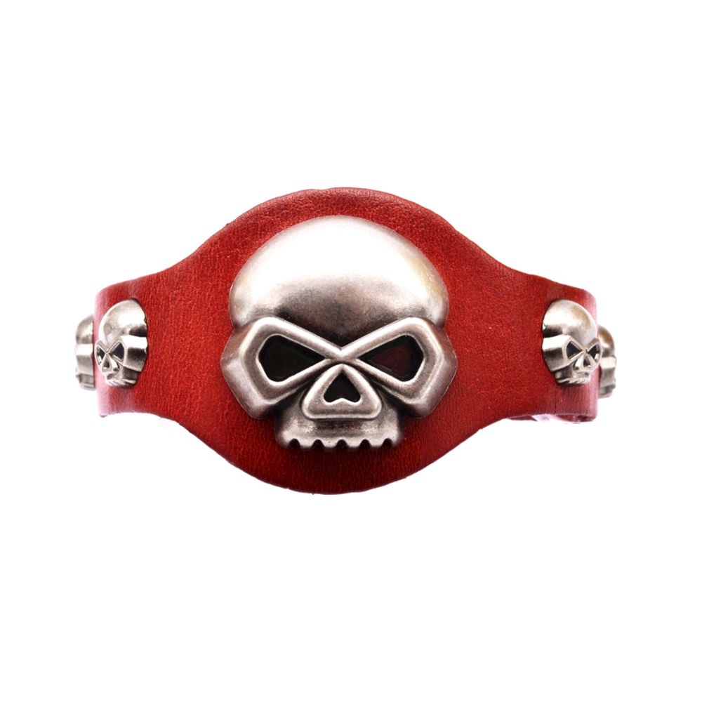 Red Leather and Biker Skeleton Man Bracelet