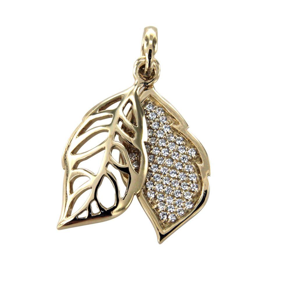 Swarovski - White Swarovski Crystal Elements and 925 Silver and Gold leaf Pendant