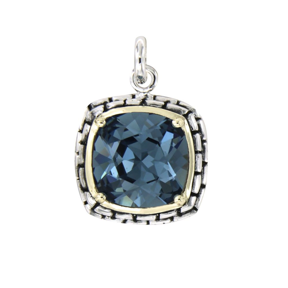 Swarovski - Blue Swarovski Elements Crystal and 925 Silver Pendant