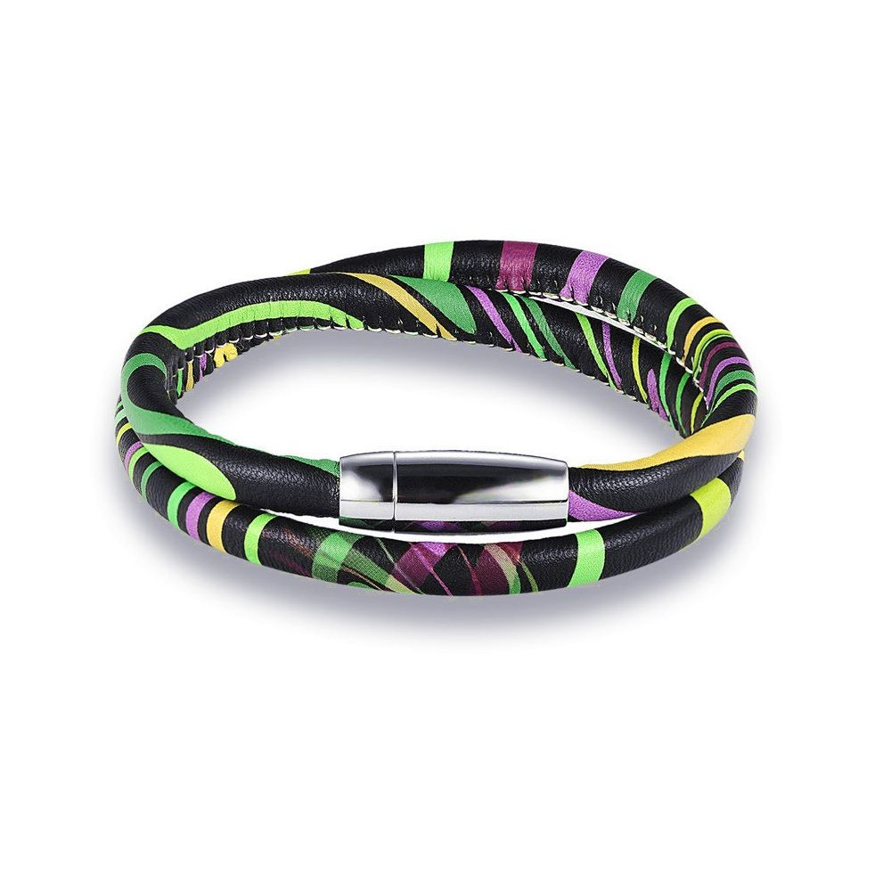 Multi-coloured retro leather bracelet