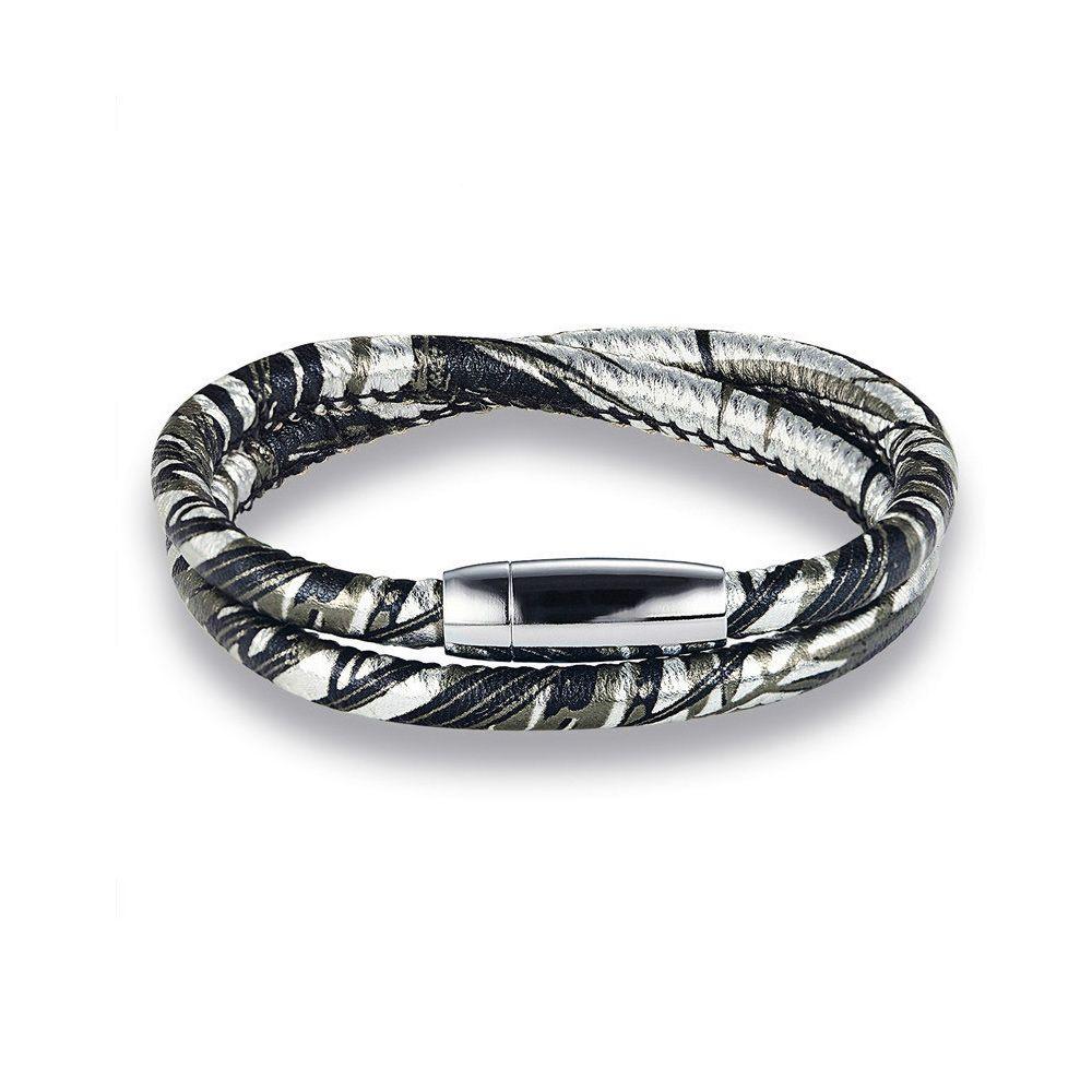 Silver-tone leather bracelet