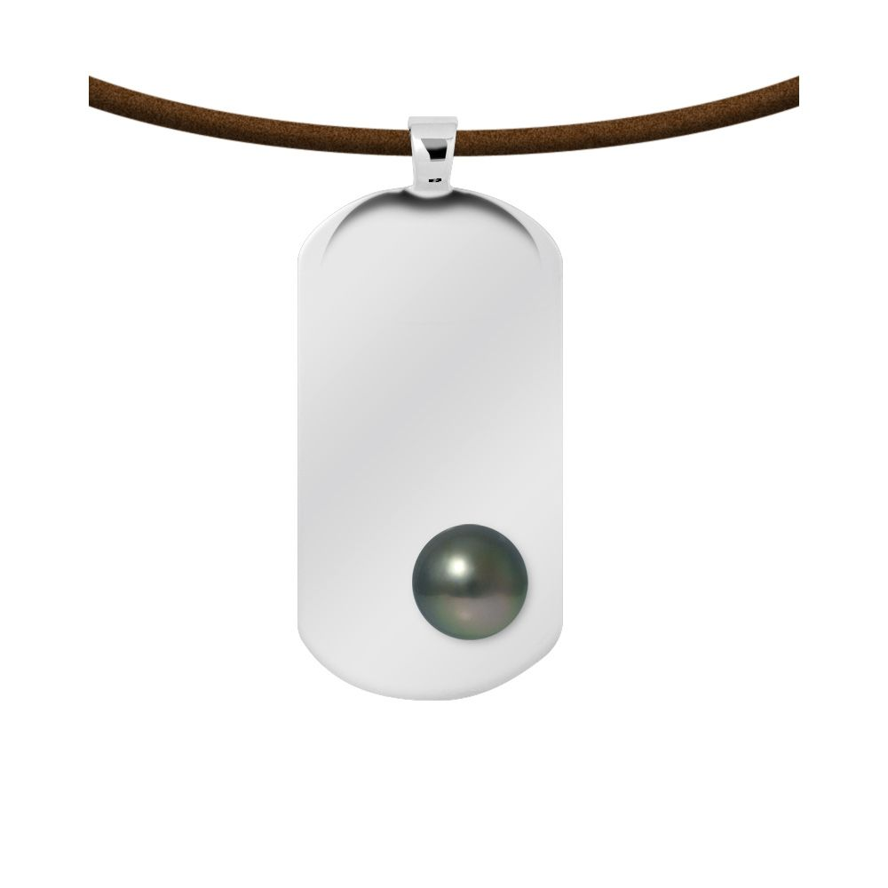 Tahitian pearl leather necklace