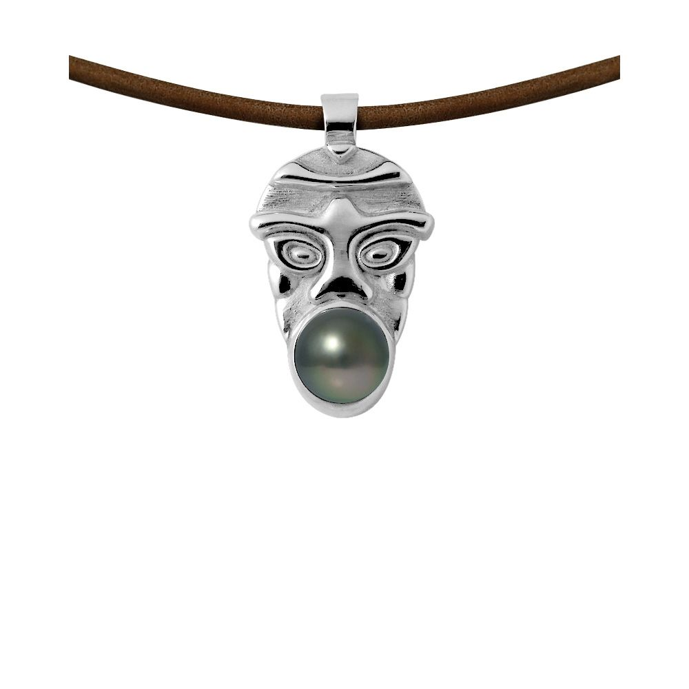 Tahitian pearl tribal leather necklace