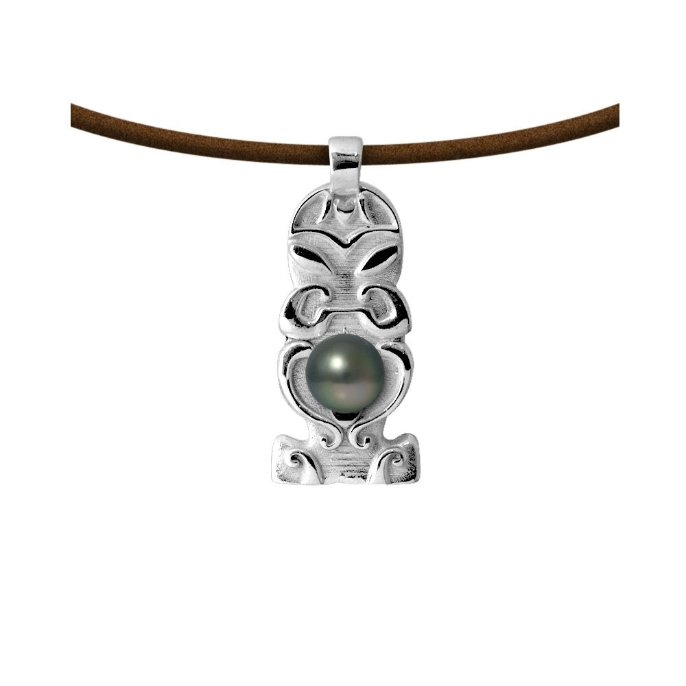 Tahitian pearl totem tribal leather necklace