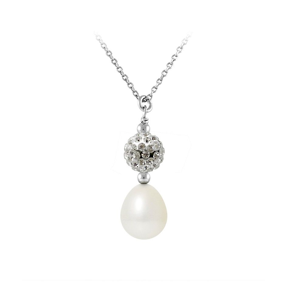 Necklace and Pendant White freshwater pearl, crystal and 925 Silver