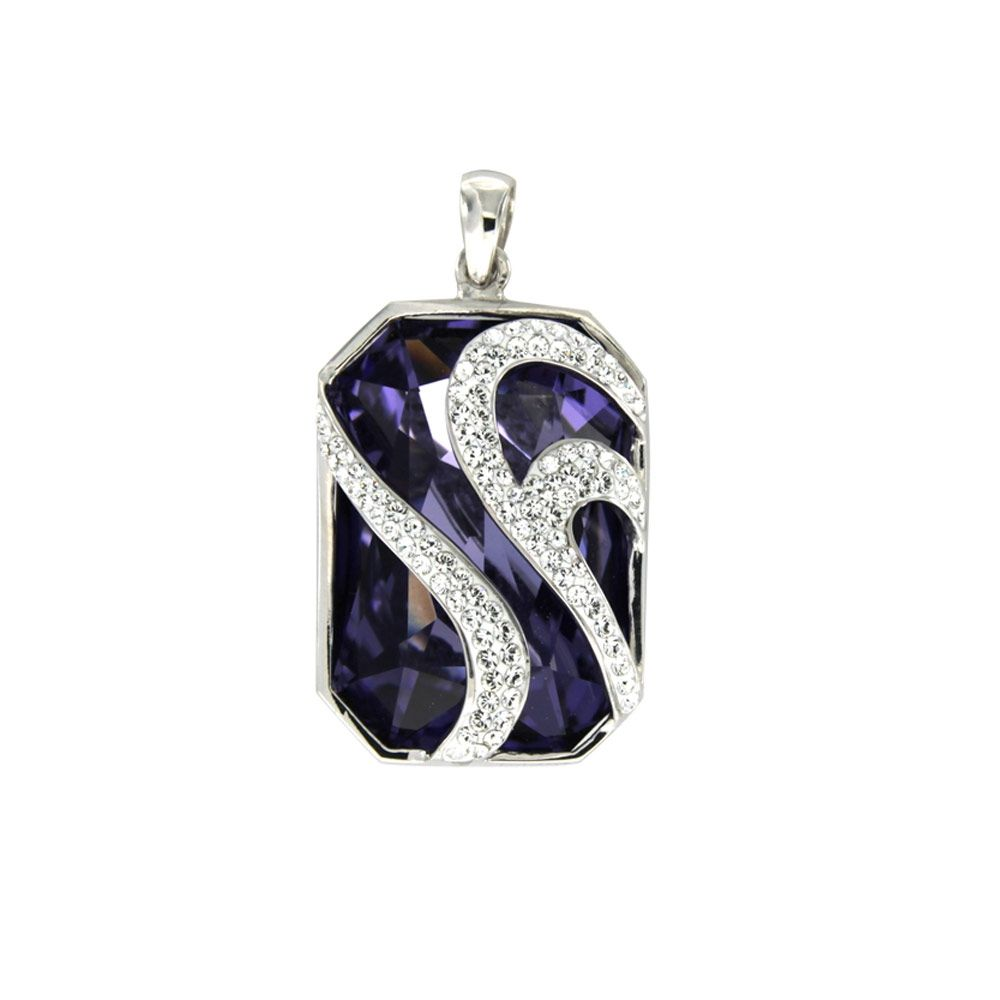 Swarovski - Purple Swarovski Elements Crystal Pendant and 925/1000 Silver Mounting