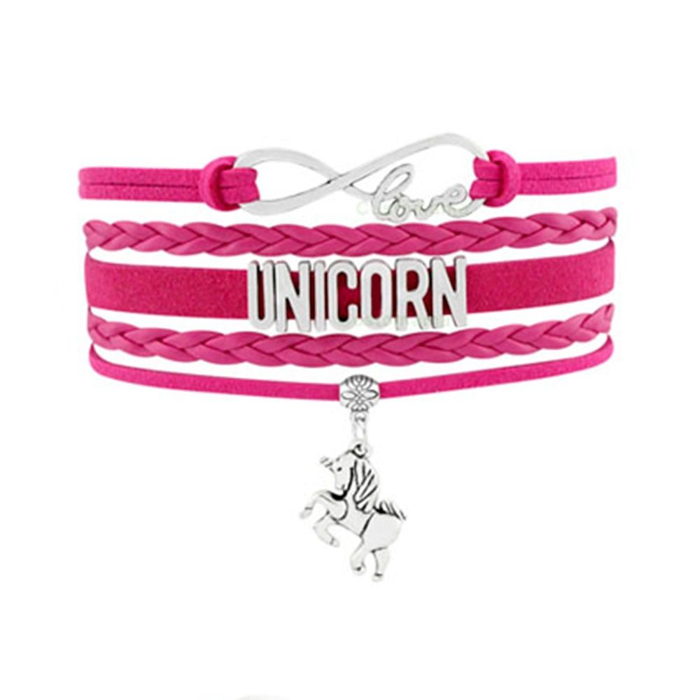 Women Love and Unicorn Multi Row Bracelet in Swedish and Fuchsia Leather and Silver Metal