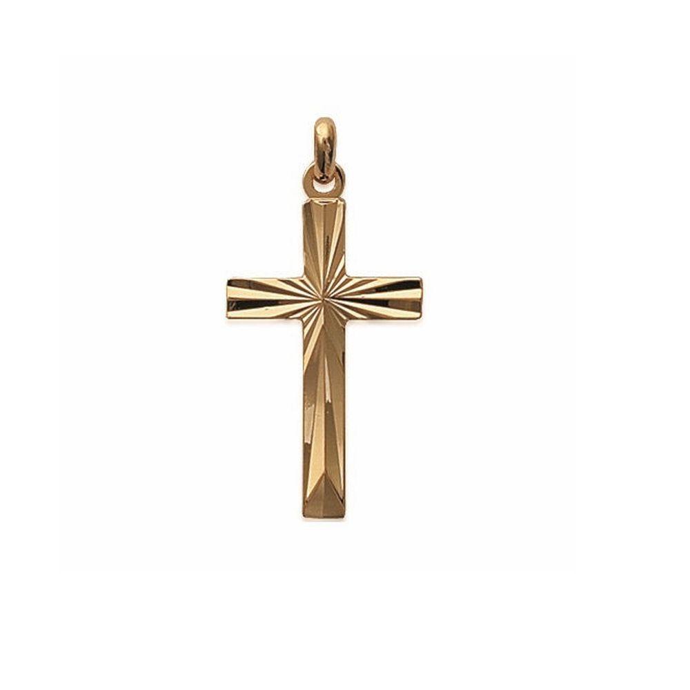 Yellow Gold Plated Women or Men Cross Pendant