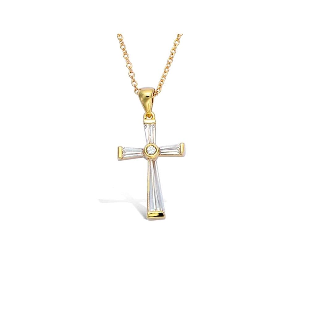 Zirconium and Yellow Gold Plated Women or Men Cross Pendant