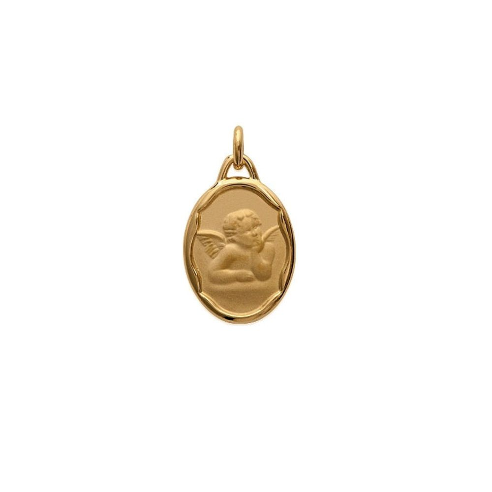 Angel Christ Woman-Man-Child and Yellow Gold Plated Pendant