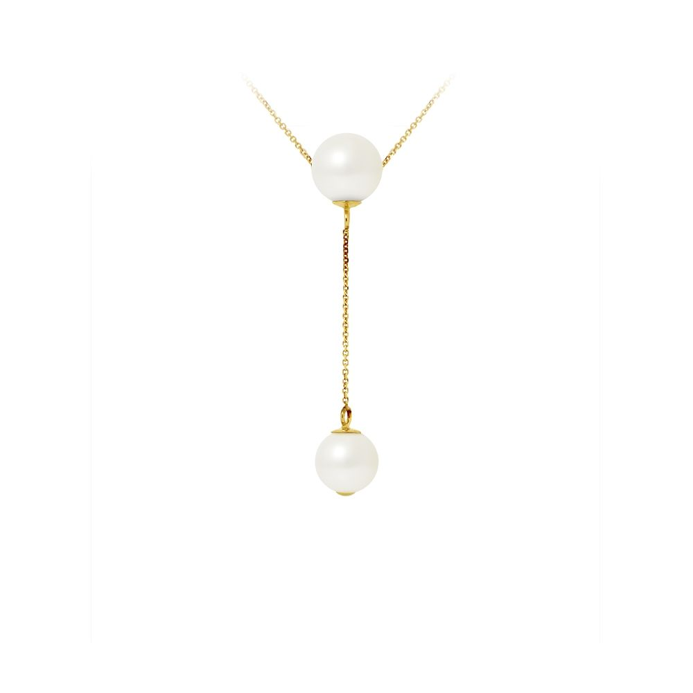 2 White Freshwater Pearls Choker Necklace and 750/1000 Yellow Gold