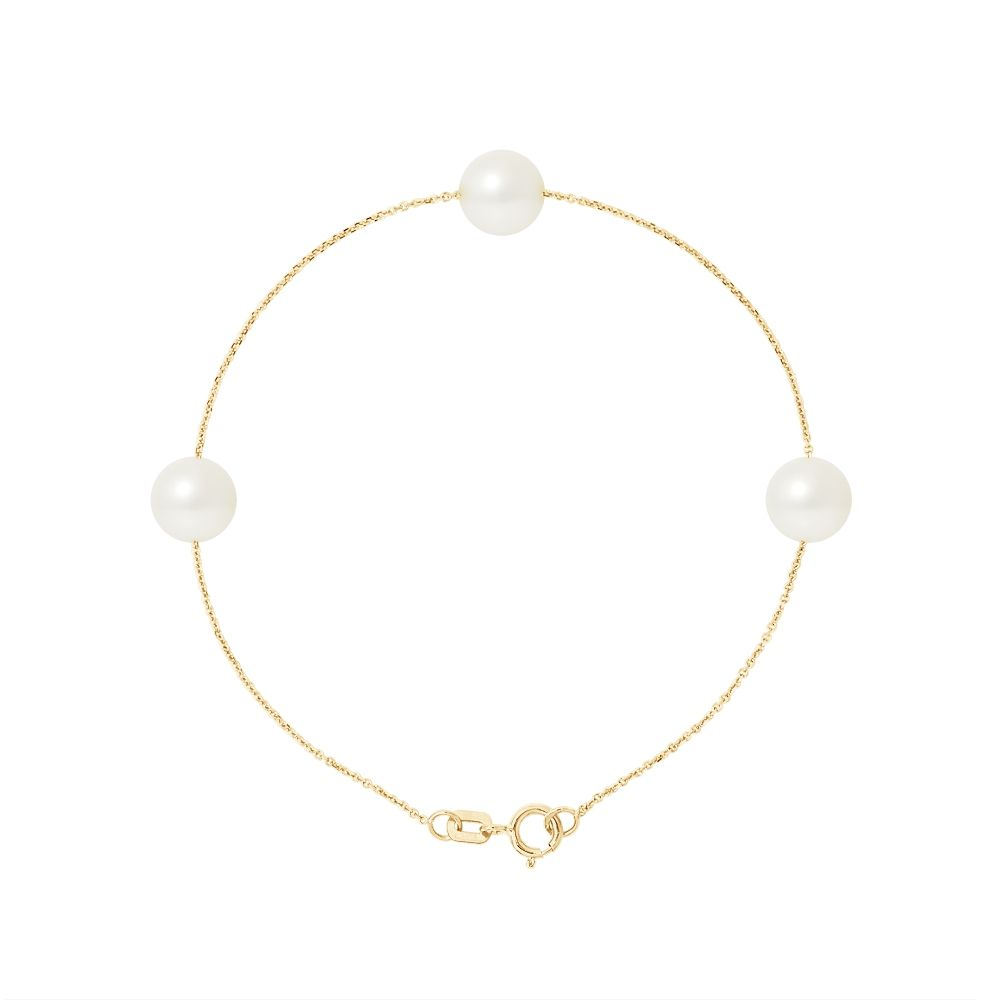 3 AA White Freshwater Pearls Bracelet and 750/1000 Yellow Gold