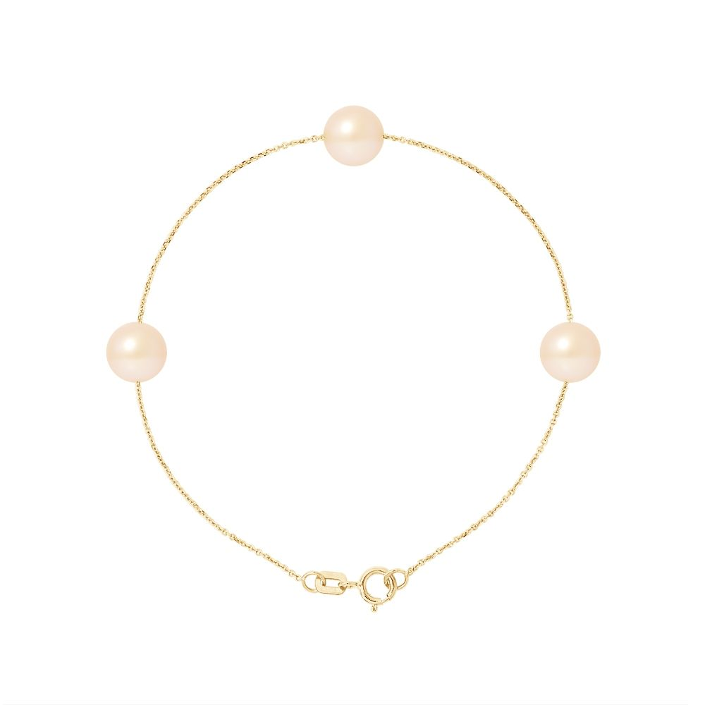 3 AA Natural Pink Freshwater Pearls Bracelet and 750/1000 Yellow Gold