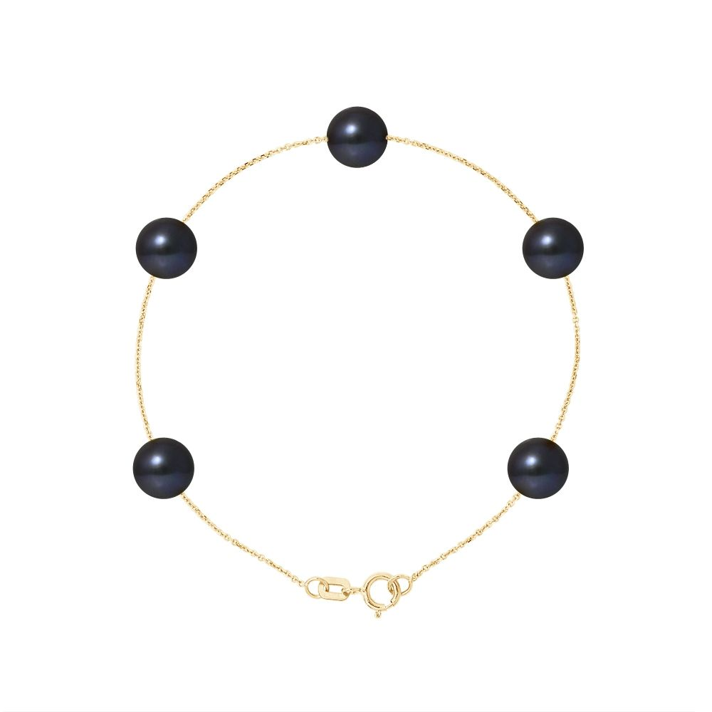 5 AA Black Freshwater Pearls Bracelet and 750/1000 Yellow Gold