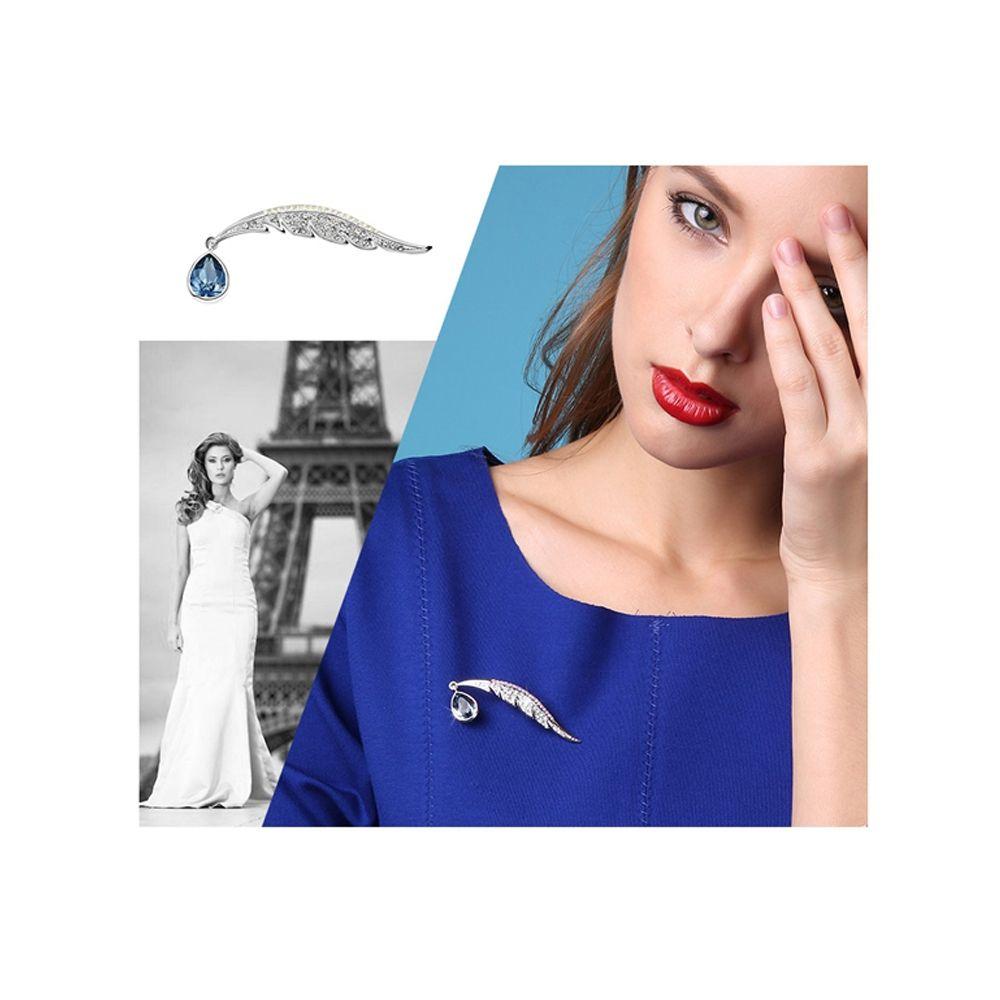 Swarovski - Blue Peacock Feather Swarovski Crystal Brooch