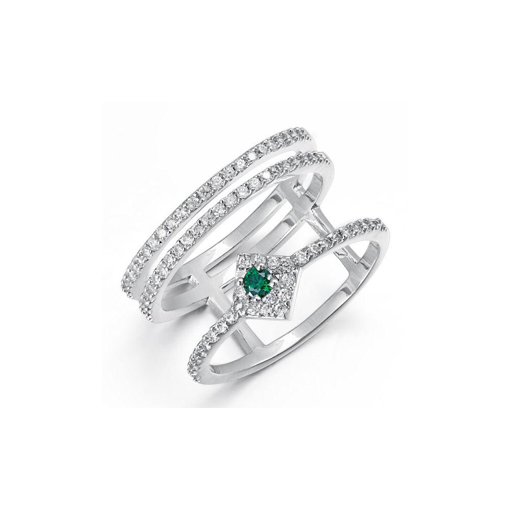 Swarovski - White and Green Swarovski Elements Crystal Ring