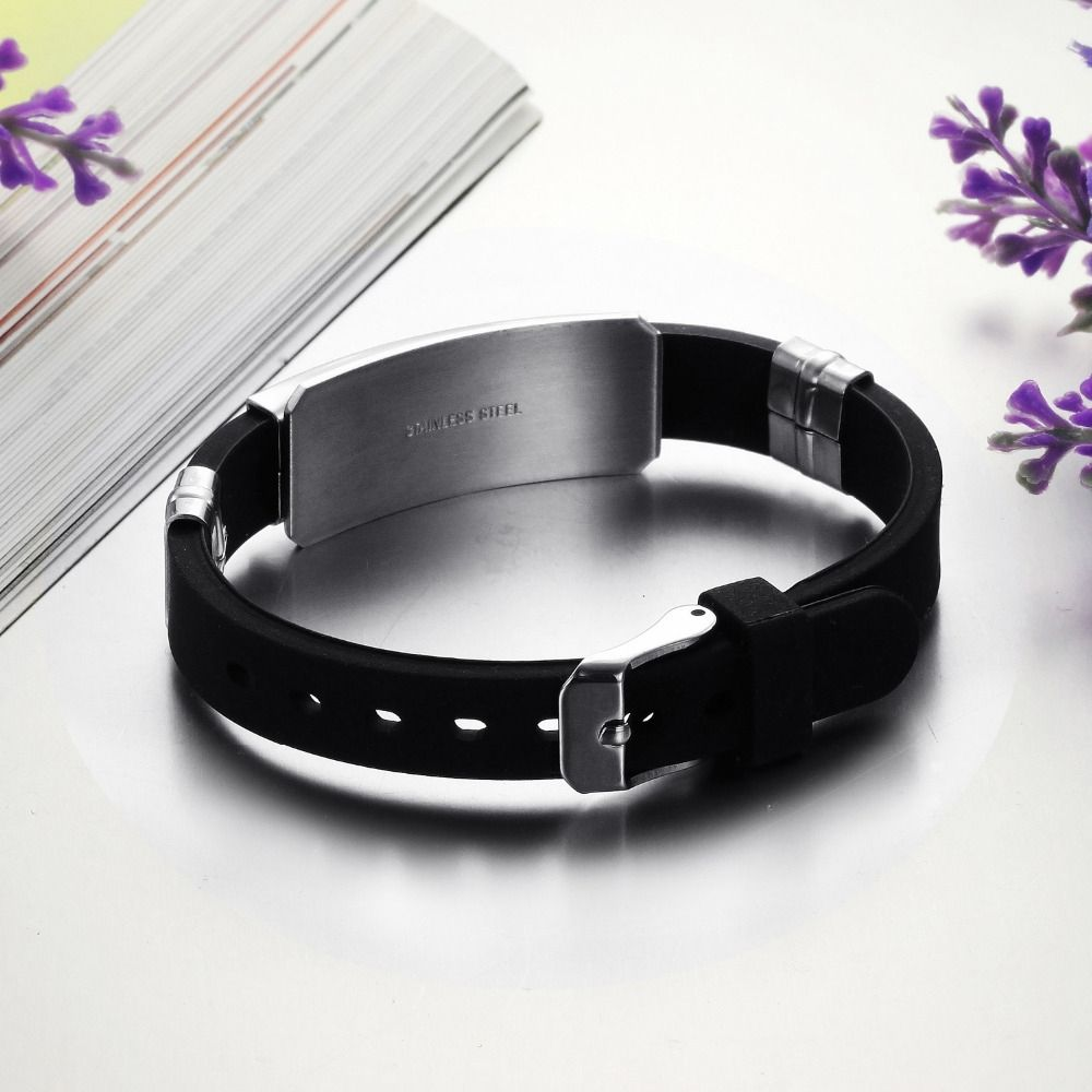 Stainless Steel and Silicone Man Bracelet
