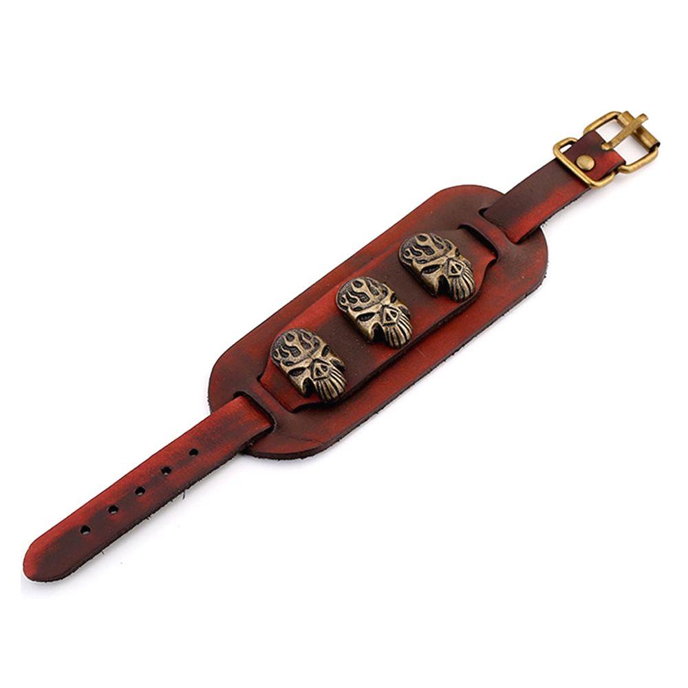 Red Leather and Biker Skeleton Man Bracelet